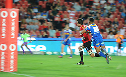 070418 Emirates Airlines Park, Ellis Park, Johannesburg, South Africa. Super Rugby. Lions vs Stormers. Lions captain Franco Mostert goes on to score a try early in the second half.<br />Picture: Karen Sandison/African News Agency (ANA)