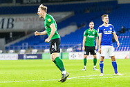 GOAL 1-1 Birmingham City's Marc Roberts (4) celebrates scoring his side's first goal during the EFL Sky Bet Championship match between Cardiff City and Birmingham City at the Cardiff City Stadium, Cardiff, Wales on 16 December 2020.