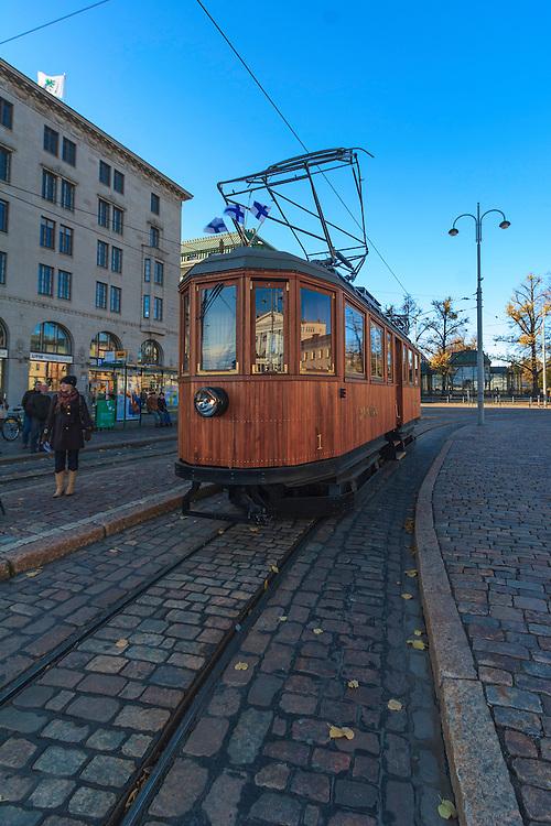 The old wooden tram in Helsinki, Finland.