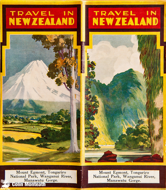 Travel in New Zealand 1930s brochure, Mt Egmont Taranaki, Wanganui River, New Zealand, Dave Bamford collection.