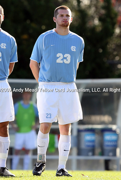 29 November 2009: UNC's Drew McKinney. The University of North Carolina Tar Heels defeated the Indiana University Hoosiers 1-0 at Fetzer Field in Chapel Hill, North Carolina in an NCAA Division I Men's Soccer Tournament Third Round game.