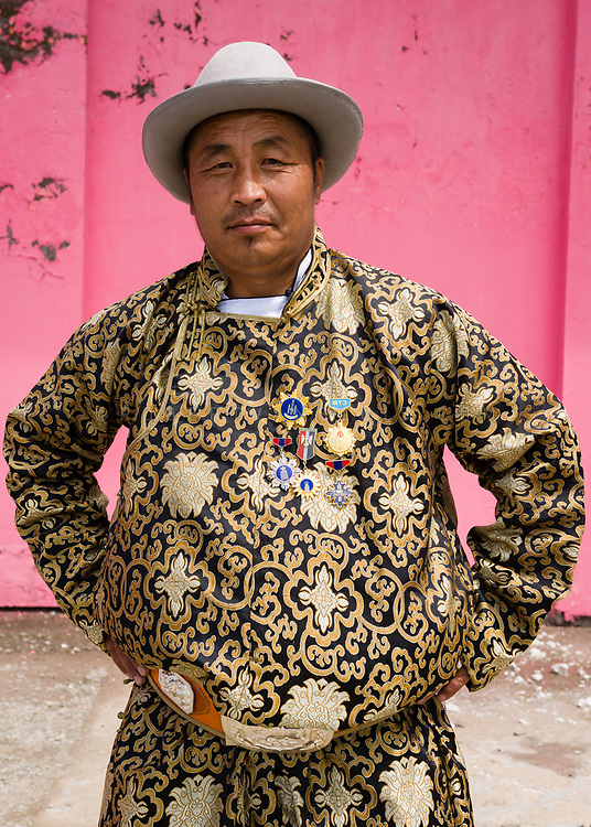 Portrait of a man in traditional dress at the Nadaam Festival in Erdenet, Mongolia. Photo ©robertvansluis.com