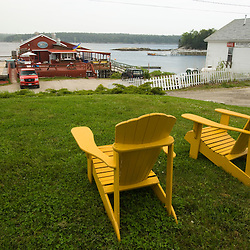A view from the lawn at Holbrook's Wharf.  Cundy Harbor, Maine.