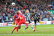 Plymouth Argyle's Jamille Matt has a headed shot at goal which his the bar during the Sky Bet League 2 match between Plymouth Argyle and York City at Home Park, Plymouth, England on 28 March 2016. Photo by Graham Hunt.