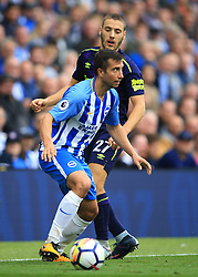 15 October 2017 -  Premier League - Brighton and Hove Albion v Everton - Marus Suttner of Brighton and Hove Albion in action with Nikola Vlasic of Everton - Photo: Marc Atkins/Offside