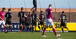 Clyde's Chris Johnston (7) cele scoring their first half goal. half time : Arbroath 0 v 1 Clyde, Tunnocks Caramel Wafer Challenge Cup 4th Round, played 12/10/2019 at Arbroath's home ground, Gayfield Park.