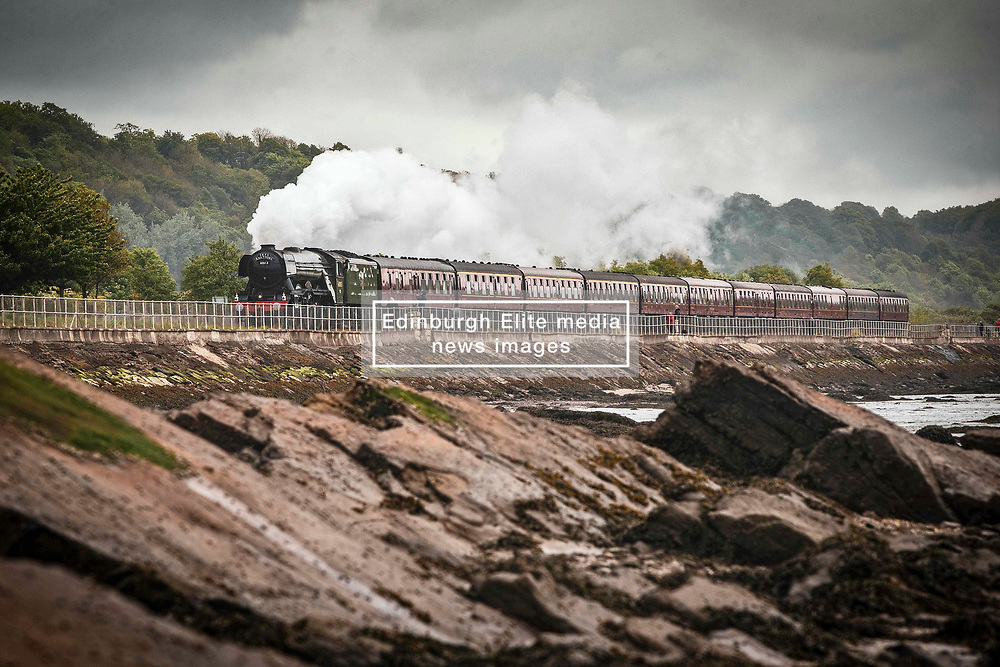 Pictured: The famous Flying Scotsman Steam Train runs along the fife coast at Culross this morning as part of a tour of Scotland.  Andrew West/ EEm