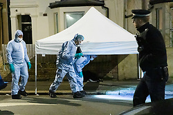 © Licensed to London News Pictures. 06/03/2019. London, UK.  Police and forensic officers at the crime scene in North Birkbeck Road in Leyton where a murder investigation has been launched after a man was stabbed this afternoon at around 16:26hrs.  Photo credit: Vickie Flores/LNP
