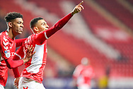 Charlton Athletic forward Karlan Ahearne-Grant (18) celebrates his goal with Charlton Athletic forward Recco Hackett-Fairchild (37) during the EFL Sky Bet League 1 match between Charlton Athletic and Bristol Rovers at The Valley, London, England on 24 November 2018.