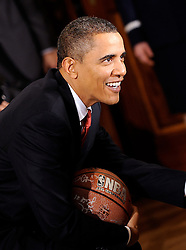 President Barack Obama welcomes the NBA Champion Los Angeles Lakers to the White House to honor their 2008-2009 season at the East Room in Washington, DC, USA on January 25, 2010. Photo by Olivier Douliery /Cameleon/ABACAPRESS.COM  | 217357_008 Washington