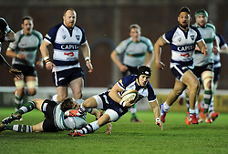 Bristol Rugby's Matthew Morgan is tackled  - Photo mandatory by-line: Joe Meredith /JMP - Mobile: 07966 386802 - 06/03/2015 - SPORT - Rugby - Bristol - Ashton Gate - Bristol Rugby v Nottingham Rugby - Greene King IPA Championship