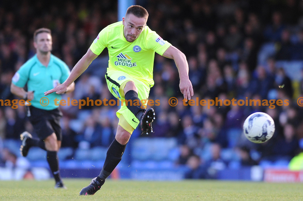 Peterboroughs Paul Taylor in action during the Sky Bet League 1 match between Southend United and Peterborough at Roots Hall in Southend. October 1, 2016.<br />Holly  Allison / Telephoto Images<br />+44 7967 642437