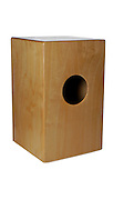 Cut out of a Cajon music instrument on white background