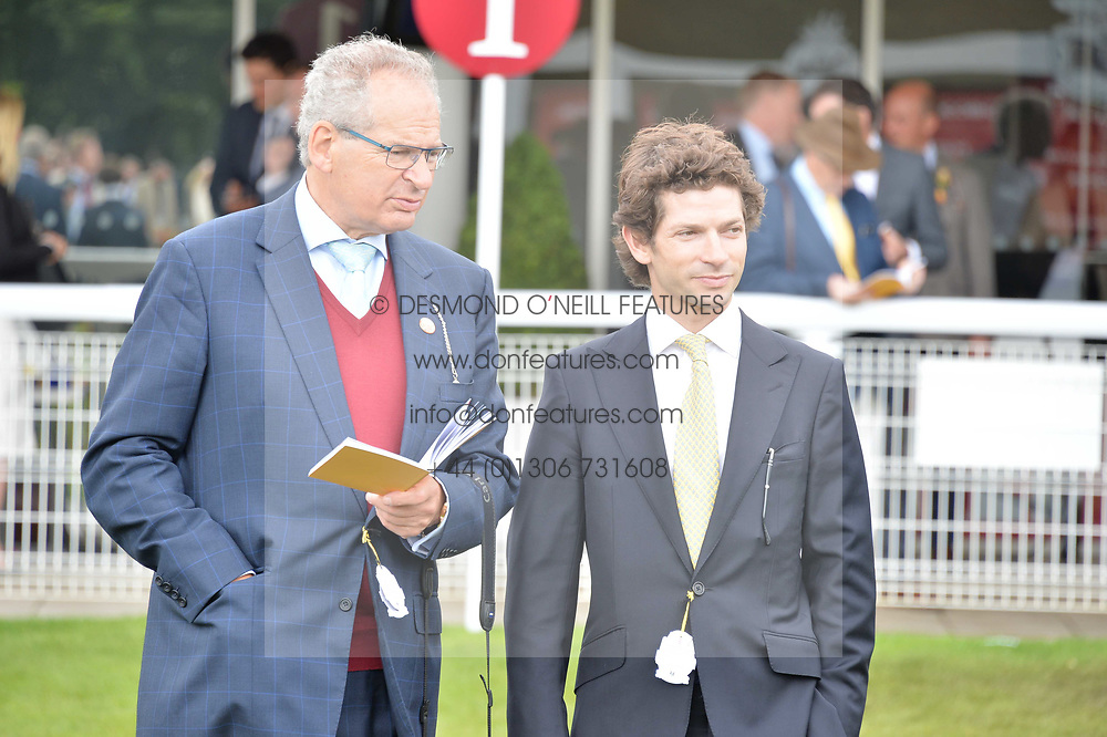 Robert Waley-Cohen and his son Sam Waley-Cohen at the Qatar Goodwood Festival, Goodwood, West Sussex England. 3 August 2017.<br /> Photo by Dominic O'Neill/SilverHub 0203 174 1069 sales@silverhubmedia.com