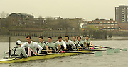 2005 Varsity Boat Race. Tideway Week, Putney, London, ENGLAND. Thursday AM. training session. Cambridge outing.Cambridge Blue Boat, carry out a technique exercise rowing one handed, during their morning trianing outing, on the river Thames...Photo  Peter Spurrier. .email images@intersport-images....[Mandatory Credit Peter Spurrier/ Intersport Images]