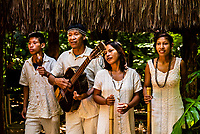 Ava Guarani (indigenous people) performing at Parque das Aves, Foz do Iguacu, Brazil.