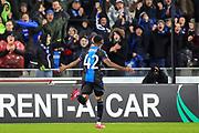 Goal Club Brugge forward Emmanuel Bonaventure Dennis (42) scores  1-0 during the Europa League match between Club Brugge and Manchester United at Jan Breydel Stadion, Brugge, Belguim on 20 February 2020.