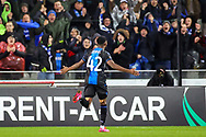 Goal Club Brugge forward Emmanuel Bonaventure Dennis (42) scores  1-0 during the Europa League match between Club Brugge and Manchester United at Jan Breydel Stadion, Brugge, Belguim on 20 February 2020.