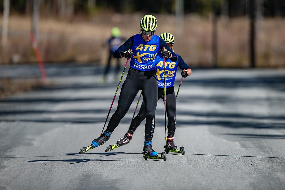 ÖSTERSUND 200511<br /> Elvira Öberg före Anna Magnusson under förmiddagens träningspass på rullskidor på Frösöberget.<br /> Foto: Per Danielsson/Projekt.P
