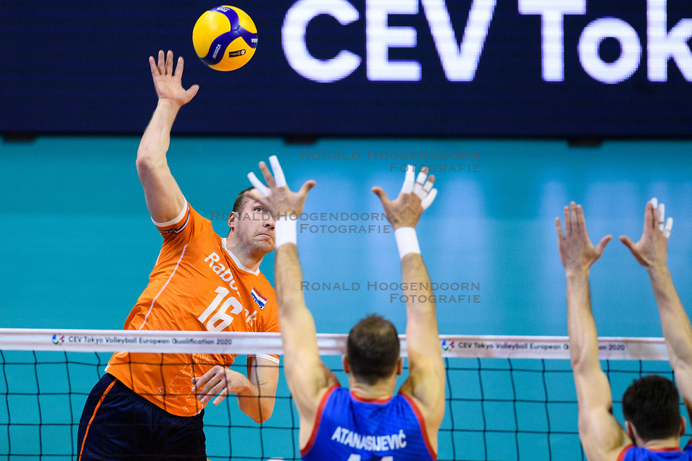 06-01-2020 NED: CEV Tokyo Volleyball European Qualification Men, Berlin<br /> Match Serbia vs. Netherlands 3-0 / Wouter Ter Maat #16 of Netherlands