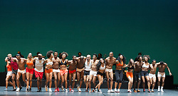 """© Licensed to London News Pictures. 07/07/2014. London, England. Claudio Segovia's show """"Brasil Brasileiro"""" opens at Sadler's Wells Theatre with 35 performers from Rio de Janeiro. Conceived and directed by Claudio Segovia, this Brazilian music and dance show runs from 8-27 July 2014.  Photo credit: Bettina Strenske/LNP"""