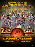 Back to back state championship poster for the Kennedy Catholic boys basketball team.