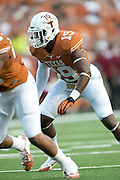 AUSTIN, TX - AUGUST 31: Peter Jinkens #19 of the Texas Longhorns looks on against the New Mexico State Aggies on August 31, 2013 at Darrell K Royal-Texas Memorial Stadium in Austin, Texas.  (Photo by Cooper Neill/Getty Images) *** Local Caption *** Peter Jinkens