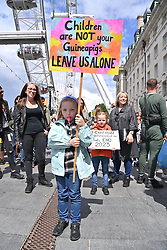 © Licensed to London News Pictures. 31/07/2021. London, UK. Children and families take part in a demonstration in support of children rights against Covid vaccination and regulations. Photo credit: London News Pictures