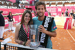 May 6, 2018 - Estoril, Portugal - Joao Sousa of Portugal poses with his girlfriend after winning the Millennium Estoril Open ATP 250 tennis tournament final against Frances Tiafoe of US, at the Clube de Tenis do Estoril in Estoril, Portugal on May 6, 2018. (Joao Sousa won 2-0) (Credit Image: © Pedro Fiuza/NurPhoto via ZUMA Press)