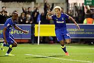 AFC Wimbledon striker Lyle Taylor (33) celebrating after scoring goal to make it 3-1 during the EFL Sky Bet League 1 match between AFC Wimbledon and Rotherham United at the Cherry Red Records Stadium, Kingston, England on 17 October 2017. Photo by Matthew Redman.
