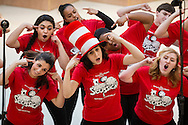 """Town of Wallkill, New York - John S. Burke Catholic High School students sing a song from """"Seussical the Musical"""" during the Orange County Arts Council's All-County High School Musical Showcase and Arts Display at the Galleria at Crystal Run on Feb. 27, 2016."""