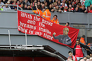 A view of a Jurgen Klopp banner in the ground. Premier League match, Liverpool v Hull City at the Anfield stadium in Liverpool, Merseyside on Saturday 24th September 2016.<br /> pic by Chris Stading, Andrew Orchard sports photography.