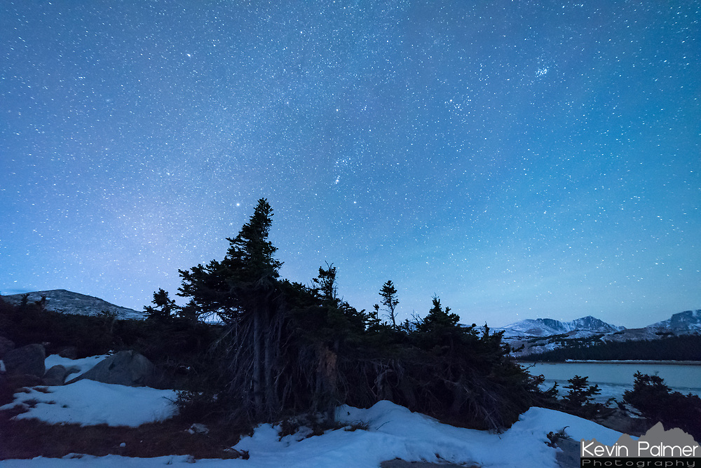 The blues of twilight begin to overtake the stars at 6AM. This view was from my campsite at Elk Lake in the Cloud Peak Wilderness.