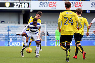Queens Park Rangers midfielder Kazenga LuaLua (28) surrounded by Burton players during the EFL Sky Bet Championship match between Queens Park Rangers and Burton Albion at the Loftus Road Stadium, London, England on 28 January 2017. Photo by Matthew Redman.
