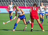 ANTWERP - BELFIUS EUROHOCKEY Championship.  women  England v Belarus (4-3) . Hannah Martin (Eng) with Karyna Syddykava (BLR) WSP/ KOEN SUYK