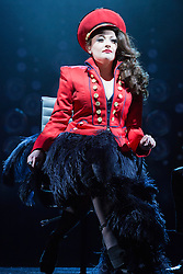 "© Licensed to London News Pictures. 21 March 2014. London, England. Pictured: Victoria Elliott as Jordy. Photocall for the Simon Cowell X-Factor Musical ""I Can't Sing!"" written by Harry Hill and Steve Brown at the London Palladium. Directed by Sean Foley with Nigel Harman as Simon, Victoria Elliott as Jordy and Ashley Knight as Louis. Photo credit: Bettina Strenske/LNP"
