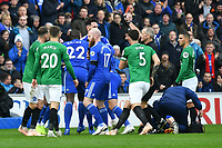 Football - 2018 / 2019 Premier League - Cardiff City vs. Brighton & Hove Albion<br /> <br /> a MELEE ERUPTS AS Dale Stephens of Brighton and Hove Albion is shown  the red card by referee M. Atkinson  Cardiff City Stadium.<br /> <br /> COLORSPORT/WINSTON BYNORTH