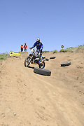 Roger Eggers on his BMW HP2 navigating the slolom course during day 1 of 2010 Rawhyde Adventure Rider Challenge