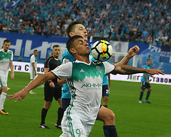 August 13, 2017 - St. Petersburg, Russia - Of The Russian Federation. Saint-Petersburg. Arena ''St.-Petersburg''. Zenit-arena. Football. Round 6 match RFPL Zenit - Ahmad. Petersburg ''Zenith'' won ''Ahmad'' with the score 4:0. The player of football club ''Zenit'' Daler Kuzyaev and the player of FC ''Ahmad'' Filipe Sampaio. (Credit Image: © Russian Look via ZUMA Wire)