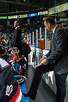 KELOWNA, CANADA - SEPTEMBER 28: Devante Stephens #21 of Kelowna Rockets discusses a play with assistant coach Kris Mallette on the bench against the Prince George Cougars on September 28, 2016 at Prospera Place in Kelowna, British Columbia, Canada.  (Photo by Marissa Baecker/Shoot the Breeze)  *** Local Caption *** Devante Stephens; Kris Mallette;
