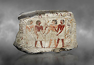 Ancient Egyptian stele of  2 pairs of archers of different ethnic groups, limestone, First Inttermediate Period, (2118-1980 BC), Goblein, Tomb of iti and Neferu, 88967-960-Senebetysy-Stele-Ancient-Egypt Egyptian Museum, Turin. Grey background.<br /> <br /> The stele was wedged into a painting in the east wall of the hallway, Schiaparelli cat 13115 .<br /> <br /> If you prefer to buy from our ALAMY PHOTO LIBRARY  Collection visit : https://www.alamy.com/portfolio/paul-williams-funkystock/ancient-egyptian-art-artefacts.html  . Type -   Turin   - into the LOWER SEARCH WITHIN GALLERY box. Refine search by adding background colour, subject etc<br /> <br /> Visit our ANCIENT WORLD PHOTO COLLECTIONS for more photos to download or buy as wall art prints https://funkystock.photoshelter.com/gallery-collection/Ancient-World-Art-Antiquities-Historic-Sites-Pictures-Images-of/C00006u26yqSkDOM