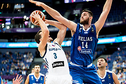 Goran Dragic of Slovenia v Georgios Papagiannis of Greeceduring basketball match between National Teams of Slovenia and Greece at Day 4 of the FIBA EuroBasket 2017 at Hartwall Arena in Helsinki, Finland on September 3, 2017. Photo by Vid Ponikvar / Sportida