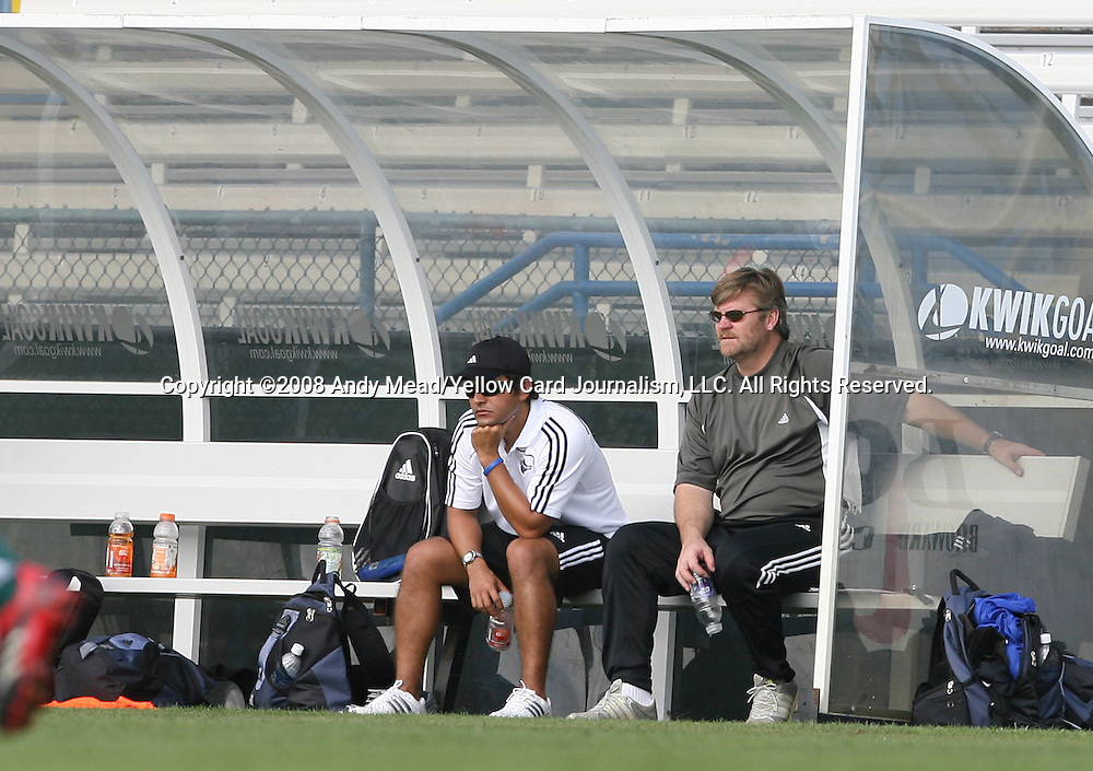 12 January 2008: Kendall Soccer Coalition's Victor Pastora (l) and George Mason head coach Greg Andrulis, coaches of the Team PowerServe team. The 2008 MLS Player Combine for players eligible to be drafted into the league was held as a series of doubleheaders at Lockhart Stadium in Fort Lauderdale, Florida.