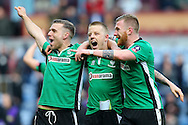 Jack Muldoon, Terry Hawkridge and Alan Power of Lincoln City celebrate their teams win after the final whistle. TThe Emirates FA cup 5th round match, Burnley v Lincoln City at Turf Moor in Burnley, Lancs on Saturday 18th February 2017.<br /> pic by Chris Stading, Andrew Orchard Sports Photography.