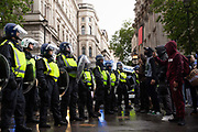 Tens of thousands of people attend a Black Lives Matter protest which was mainly peaceful until it descended into confrontation and clashes with police on Whitehall towards the end of the day on 6th June 2020 in London, United Kingdom. Despite the Covid19 pandemic, and sparked by the killing of George Floyd by Police in the USA, there have been protests internationally demanding the end to police killings, mass incarceration and racial inequality in society.