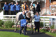 MAJOR JUMBO (4) ridden by Josephine Gordon and trained by Kevin Ryan enter the Winners Enclosure after winning The Coral Sprint Trophy over 6f (£100,000)   during the October Finale meeting at York Racecourse, York, United Kingdom on 13 October 2018. Pic Mick Atkins