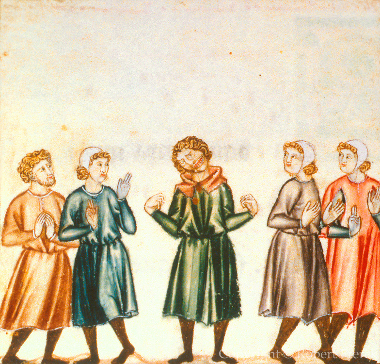 SPAIN, MIDDLE AGES, EL ESCORIAL 13thC Cantigas illuminated poems created for Alfonso X of Castile shows mental disorder or epilepsy