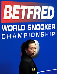 Match referee Peggy Li during day three of the 2018 Betfred World Championship at The Crucible, Sheffield.