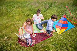 Directly above shot of nuclear family enjoying picnic in the countryside, Bavaria, Germany