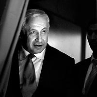 Benjamin Netanyahu arrives to the Hertzelia conference, February, 2009.